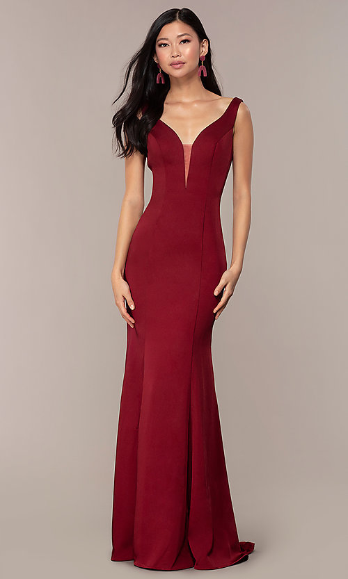 Image of long v-neck formal evening dress by Clarisse. Style: CLA-3153 Front Image