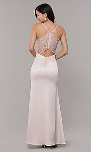 Image of v-neck buff pink long prom dress with lace back Style: MY-5770YB1S Back Image