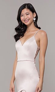 Image of v-neck buff pink long prom dress with lace back Style: MY-5770YB1S Detail Image 1