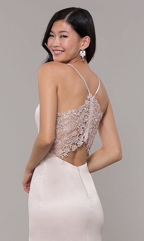 Image of v-neck buff pink long prom dress with lace back Style: MY-5770YB1S Detail Image 2