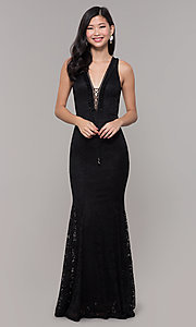 Image of lace long open-back formal gown. Style: CL-46302 Detail Image 4