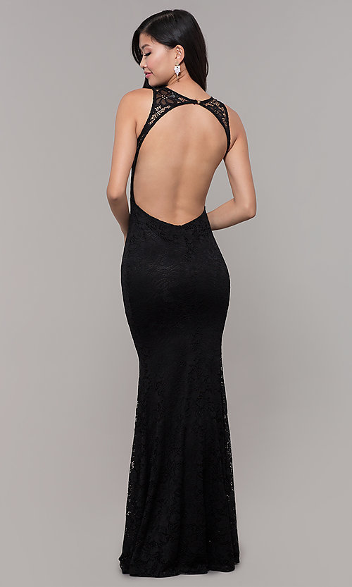 Image of lace long open-back formal gown. Style: CL-46302 Detail Image 5