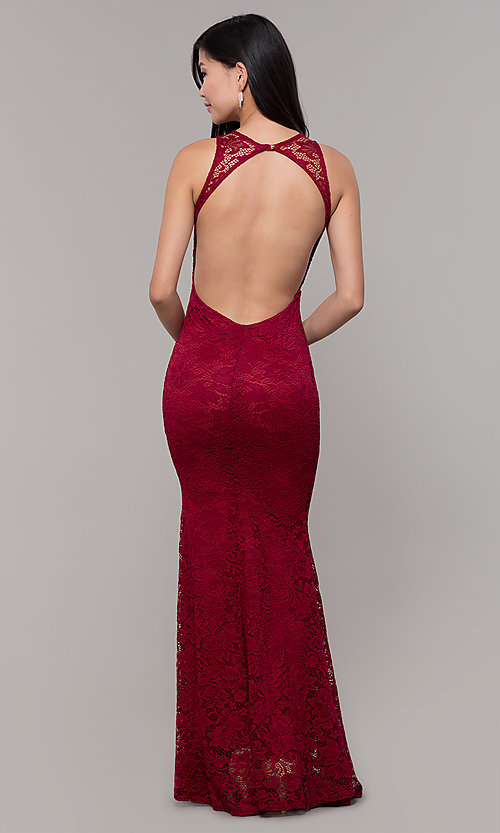 Image of lace long open-back formal gown. Style: CL-46302 Back Image
