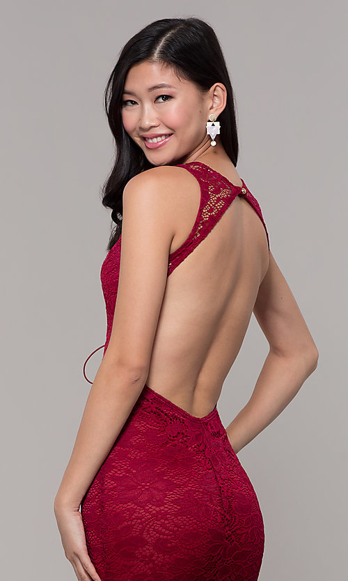 Image of lace long open-back formal gown. Style: CL-46302 Detail Image 2