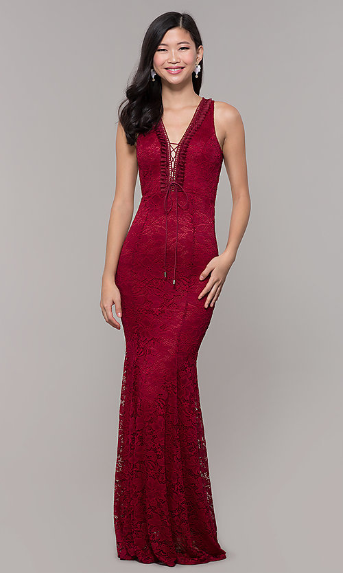 Image of lace long open-back formal gown. Style: CL-46302 Detail Image 3