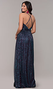 Image of long v-neck iridescent metallic prom dress. Style: CLA-3727 Back Image