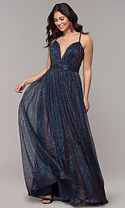 Image of long v-neck iridescent metallic prom dress. Style: CLA-3727 Detail Image 3