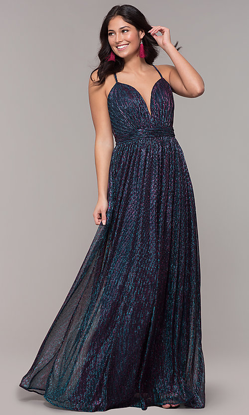 Image of long v-neck iridescent metallic prom dress. Style: CLA-3727 Front Image
