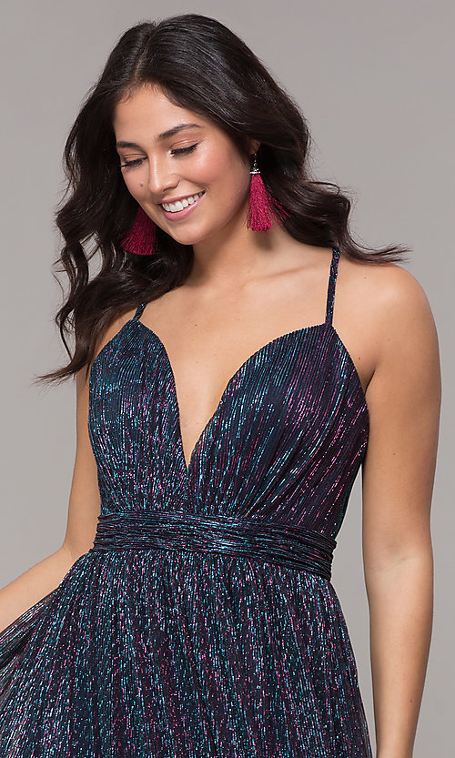 Image of long v-neck iridescent metallic prom dress. Style: CLA-3727 Detail Image 1