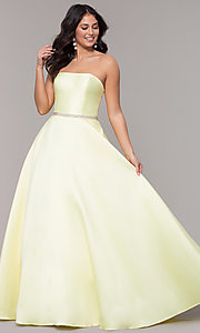 Image of strapless long a-line prom dress with pockets.  Style: CLA-3739 Detail Image 4