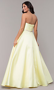 Image of strapless long a-line prom dress with pockets.  Style: CLA-3739 Detail Image 5