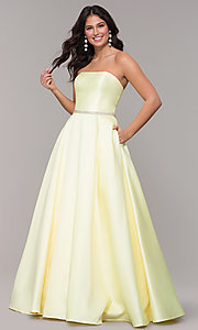 Image of strapless long a-line prom dress with pockets.  Style: CLA-3739 Detail Image 7