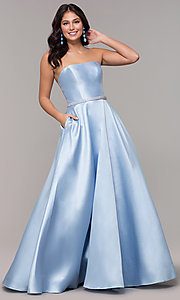 Image of strapless long a-line prom dress with pockets.  Style: CLA-3739 Front Image