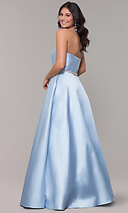 Image of strapless long a-line prom dress with pockets.  Style: CLA-3739 Back Image