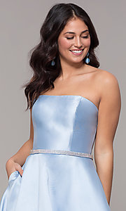 Image of strapless long a-line prom dress with pockets.  Style: CLA-3739 Detail Image 1
