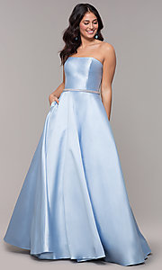 Image of strapless long a-line prom dress with pockets.  Style: CLA-3739 Detail Image 3
