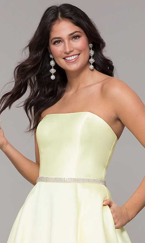 Image of strapless long a-line prom dress with pockets.  Style: CLA-3739 Detail Image 6