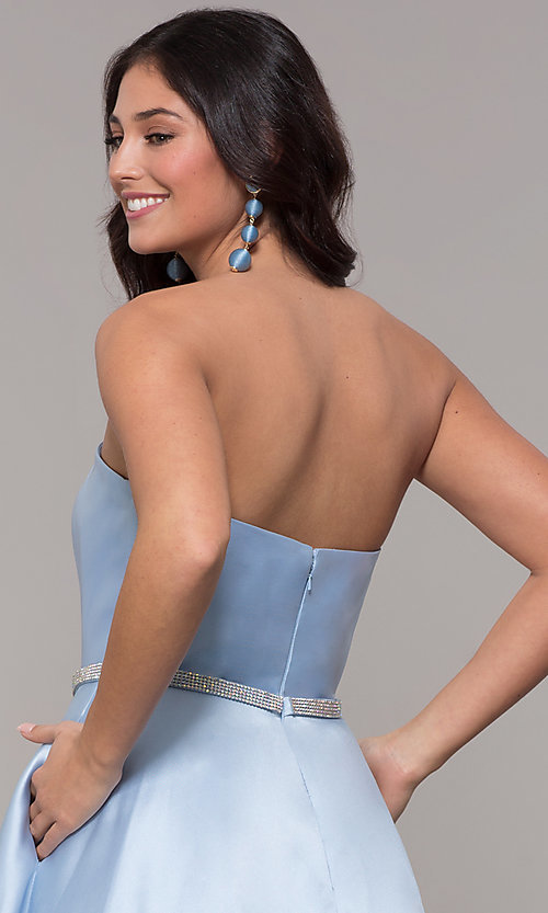 Image of strapless long a-line prom dress with pockets.  Style: CLA-3739 Detail Image 2