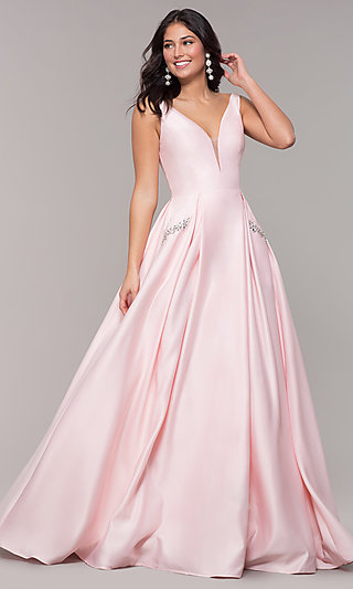 V-Neck Long Prom Dress with Side Pockets