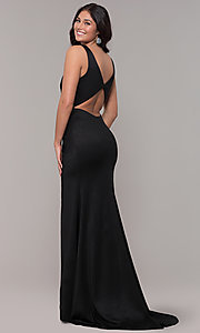Image of faux-wrap long black prom dress with train. Style: CLA-3787 Back Image