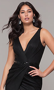 Image of faux-wrap long black prom dress with train. Style: CLA-3787 Detail Image 1