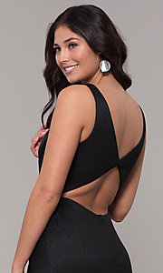 Image of faux-wrap long black prom dress with train. Style: CLA-3787 Detail Image 2