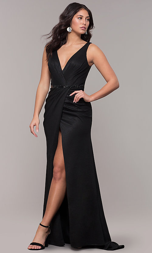 Image of faux-wrap long black prom dress with train. Style: CLA-3787 Front Image