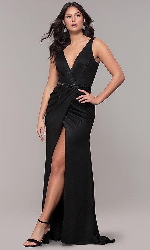 Image of faux-wrap long black prom dress with train. Style: CLA-3787 Detail Image 3