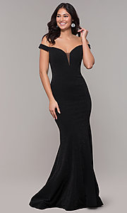 Image of mermaid off-the-shoulder long formal prom dress. Style: CLA-3788 Front Image