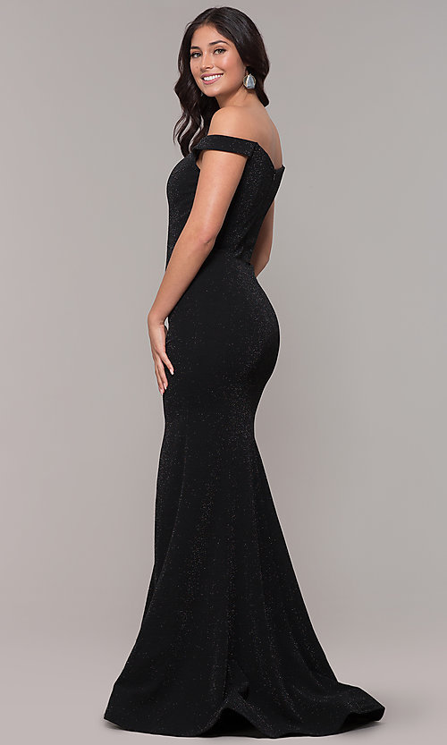 Image of mermaid off-the-shoulder long formal prom dress. Style: CLA-3788 Back Image