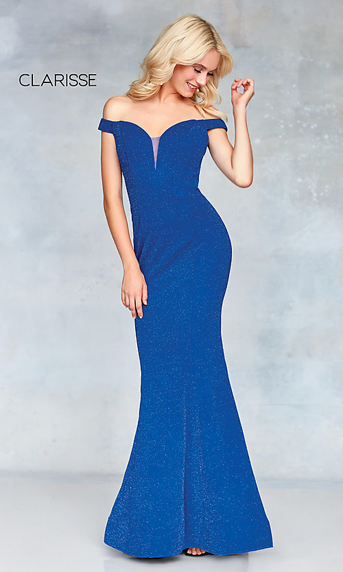 Image of mermaid off-the-shoulder long formal prom dress. Style: CLA-3788 Detail Image 4