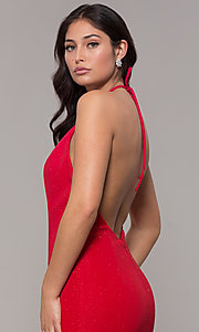 Image of high-neck halter long mermaid formal prom dress. Style: CLA-3831 Detail Image 2