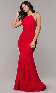 Image of high-neck halter long mermaid formal prom dress. Style: CLA-3831 Detail Image 3