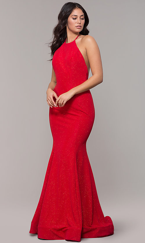 Image of high-neck halter long mermaid formal prom dress. Style: CLA-3831 Front Image