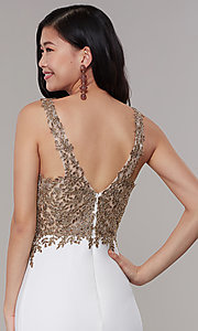 Image of long Faviana prom dress with sheer-embroidered bodice. Style: FA-10204 Detail Image 2