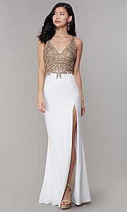 Image of long Faviana prom dress with sheer-embroidered bodice. Style: FA-10204 Detail Image 3