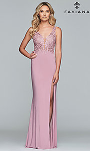 Image of long Faviana prom dress with sheer-embroidered bodice. Style: FA-10204 Front Image