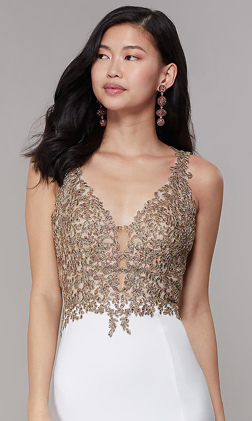 Image of long Faviana prom dress with sheer-embroidered bodice. Style: FA-10204 Detail Image 1