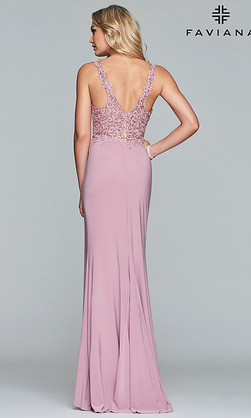 Image of long Faviana prom dress with sheer-embroidered bodice. Style: FA-10204 Back Image