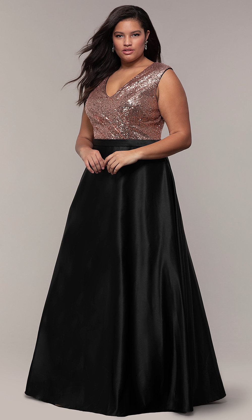 Long Plus-Size Sequin-Bodice Formal Satin Dress