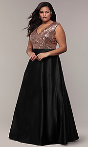 Image of long plus-size sequin-bodice formal satin dress. Style: SC-PL-PG-A Front Image