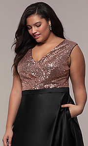 Image of long plus-size sequin-bodice formal satin dress. Style: SC-PL-PG-A Detail Image 1