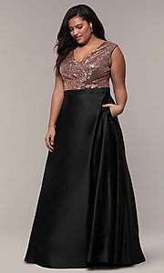 Image of long plus-size sequin-bodice formal satin dress. Style: SC-PL-PG-A Detail Image 3