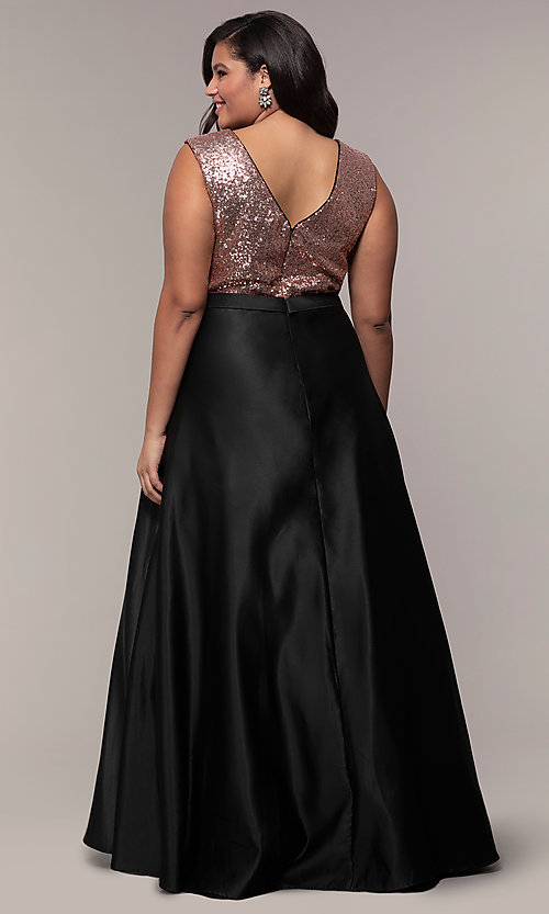 Image of long plus-size sequin-bodice formal satin dress. Style: SC-PL-PG-A Back Image