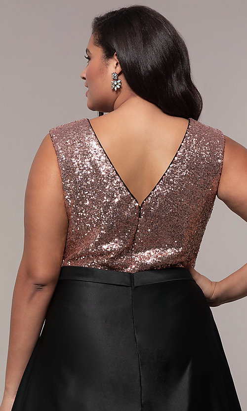 Image of long plus-size sequin-bodice formal satin dress. Style: SC-PL-PG-A Detail Image 2