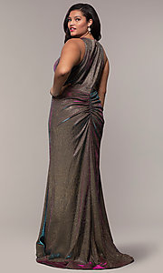 Image of long iridescent plus-size v-neck formal dress. Style: SC-PL-PG-B Back Image