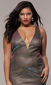 Image of long iridescent plus-size v-neck formal dress. Style: SC-PL-PG-B Detail Image 1