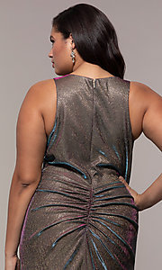 Image of long iridescent plus-size v-neck formal dress. Style: SC-PL-PG-B Detail Image 2