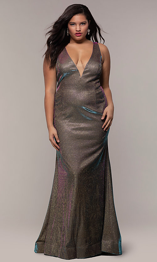 Image of long iridescent plus-size v-neck formal dress. Style: SC-PL-PG-B Front Image