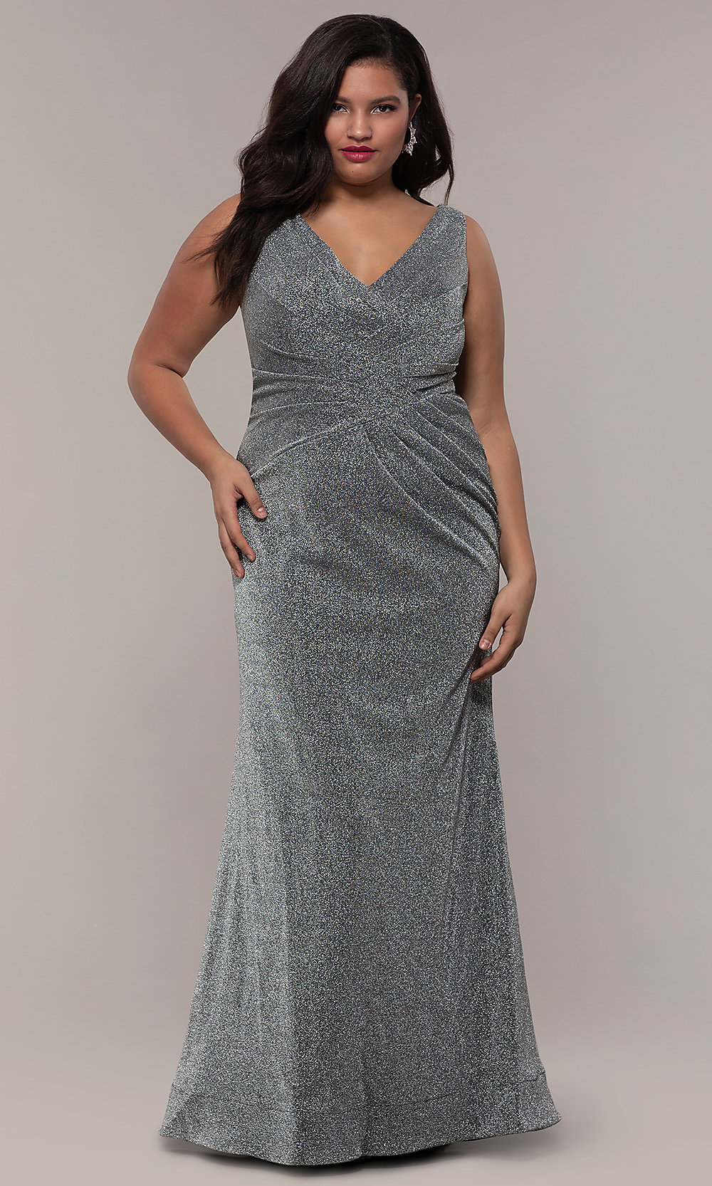 Pleated-Waist Plus-Size Glitter-Knit Formal Dress